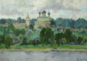 Russia Paintings - Small town on the river Volga by Juliya Zhukova