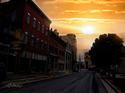 Amazing Sunset Mixed Media Prints - Small Town Sunrise Print by Lj Lambert