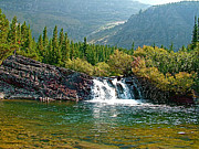 Montana Digital Art - Small waterfall near Red Rock Falls in Glacier NP by Ruth Hager