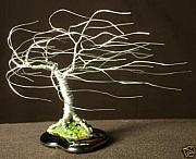 Sal Villano Art - Small  Wind Swept  - Wire Tree Sculpture by Sal Villano