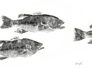 Gyotaku Prints - Smallmouth Print by Nate Huber
