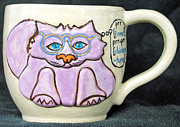 Wheel Thrown Ceramics Framed Prints - Smart Kitty Mug Framed Print by Joyce Jackson