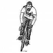 Bicycle Drawings - Smashing Bike Messenger by Karl Addison