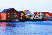 Harbour Mixed Media Prints - Smeasund Haugesund Print by Michael Greenaway