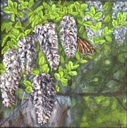 Trees Reliefs Prints - Smell the Moutain Laurel Print by Lorrie T Dunks