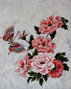 Butterfly Tapestries - Textiles Prints - Smelling the Flowers Print by Judy Sauer