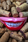 Wine Corks Prints - Smile among wine corks Print by Garry Gay
