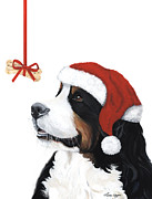 Fire Dog Prints - Smile its Christmas Print by Liane Weyers