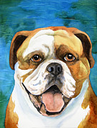 Original Watercolor Paintings - Smiley Bulldog by Cherilynn Wood