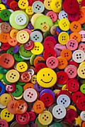 Sewn Framed Prints - Smiley face button Framed Print by Garry Gay