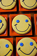 Food Humor Prints - Smiley face cookies Print by Garry Gay