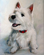 Westie Puppies Prints - Smiley Face Print by Mary Sparrow Smith