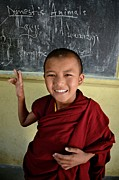 Tibetan Buddhism Prints - Smiley Monk Print by Valerie Rosen