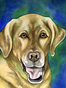 Watercolor Print Posters - Smiley Yellow Lab Poster by Cherilynn Wood