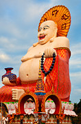 Historic Statue Digital Art Prints - smiling Buddha Print by Adrian Evans