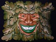 Woodcarving Reliefs Originals - Smiling Greenman by Shane  Tweten