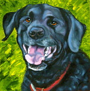 Black Dog Print Posters - Smiling Lab Poster by Susan A Becker