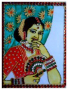 Pretty Glass Art - Smiling Lady by Juwala Padma Lakshminarayanan