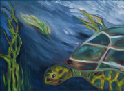 Ocean Turtle Paintings - Smiling Turtle by Debbie Weibler
