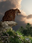 Saber Digital Art - Smilodon Californicus Lookout by Daniel Eskridge