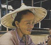Asia Pastels - Smily Cambodian Lady  by Leonor Thornton