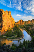 Cliffs Posters - Smith Rock River Bend Poster by Inge Johnsson