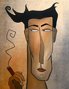 Faces Paintings - Smoke Break by Tom Fedro - Fidostudio