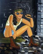 Tomboy Painting Posters - Smoke Break  Poster by Victoria  Johns