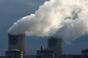 Power Plants Prints - Smoke chimneys of Tricastin Nuclear Power Plant Print by Sami Sarkis