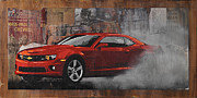 Muscle Car Mixed Media Framed Prints - Smoke Em Framed Print by Josh Bernstein