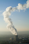 Power Plants Prints - Smoke emitting from cooling towers of Tricastin Nuclear Power Plant Print by Sami Sarkis