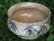 Rim. Ocher Ceramics Prints - Smoke-Fired Bamboo Leaves Bowl Print by Julia Van Dine