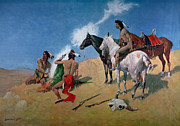 Headdress Paintings - Smoke Signals by Frederic Remington