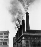 Power Plants Prints - Smoke Spewing From Stacks Of The New Print by Everett