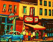 Montreal Sidewalk Terraces Acrylic Prints - Smoked  Meat Sandwiches Await Acrylic Print by Carole Spandau