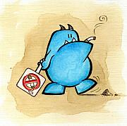 Cartoon Monster Prints - Smoker Print by Son  Of the Moon