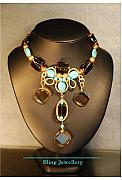 Smokey Quartz Jewelry - Smokey Quartz and Turquoise Wire Wrapped Necklace by Janine Antulov