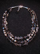 Smokey Quartz Jewelry - Smokey quartz triangle pyrite necklace by Jan Durand