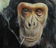 Cigarette Pastels Posters - Smokin Cool Monkey Poster by Angela Hannah