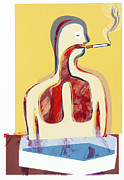Disease-causing Prints - Smoking And Lungs Print by Paul Brown