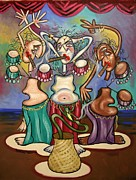 Cubism Painting Posters - Smoking Belly Dancers Poster by Anthony Falbo