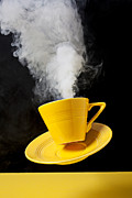 Yellows Framed Prints - Smoking hot coffee Framed Print by Garry Gay