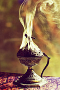 Incense Prints - Smoking Incense Burner Print by Laura George
