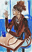 Restaurant Drawings Prints - Smoking Lady Print by Ion vincent DAnu