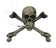 Femur Prints - Smoking Skull And Crossbones Print by Friedrich Saurer