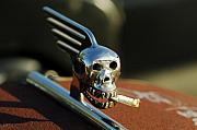 Chrome Skull Prints - Smoking Skull Hood Ornament Print by Jill Reger
