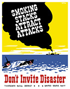 Ship Mixed Media Framed Prints - Smoking Stacks Attract Attacks Framed Print by War Is Hell Store