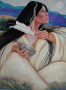 Eagle Pastels Prints - Smoking The Sage Print by Pamela Mccabe