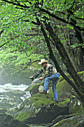 Smoky Mountain Angler Print by Marty Koch