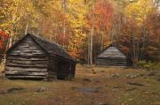 Mountain Cabin Framed Prints - Smoky Mountain Cabins at Autumn Framed Print by Andrew Soundarajan